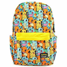 Load image into Gallery viewer, Loungefly Pokemon Starters AOP Nylon Backpack Front