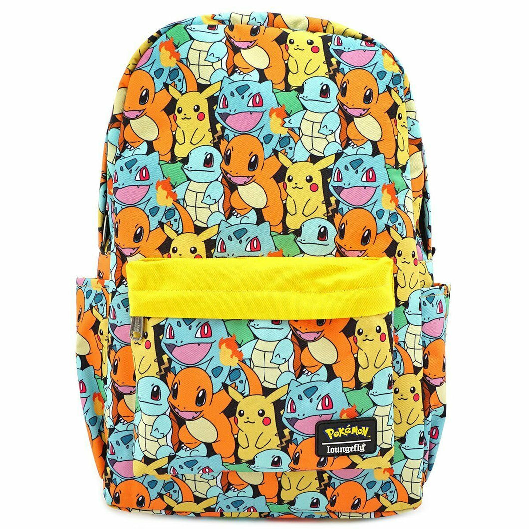 Loungefly Pokemon Starters AOP Nylon Backpack Front