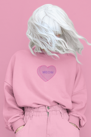 Meow Candy Heart | Crewneck