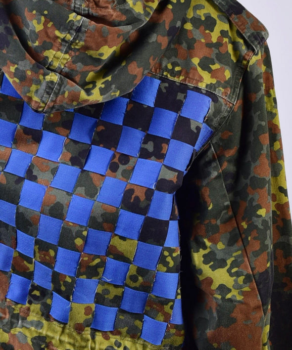 Customised vintage camo parka jacket with blue weave across the back.