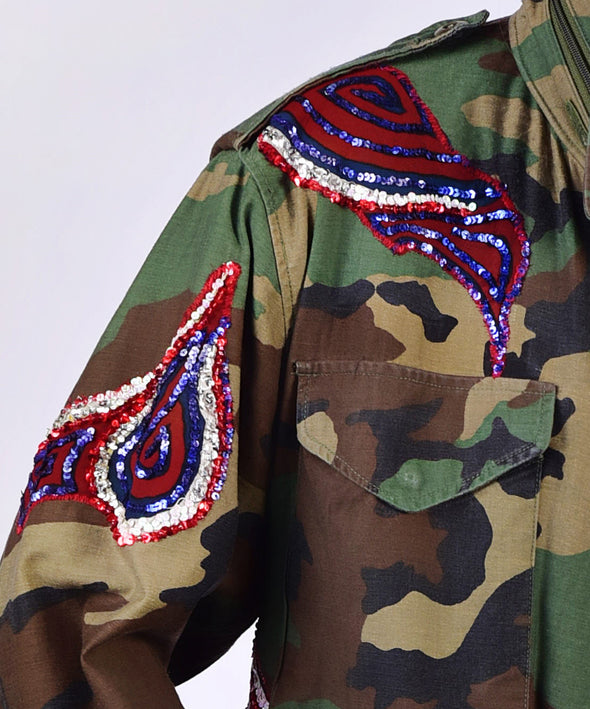 Customised vintage camo military jacket with coloured sequins - detail view