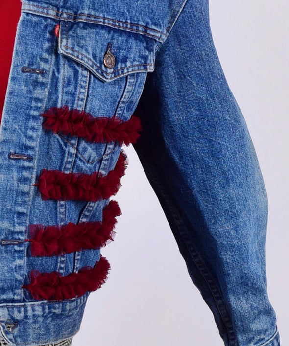 Customised Vintage Denim Jacket with red ruffles across body - jacket is Lee, Levi, Wrangler, Diesel or similar.