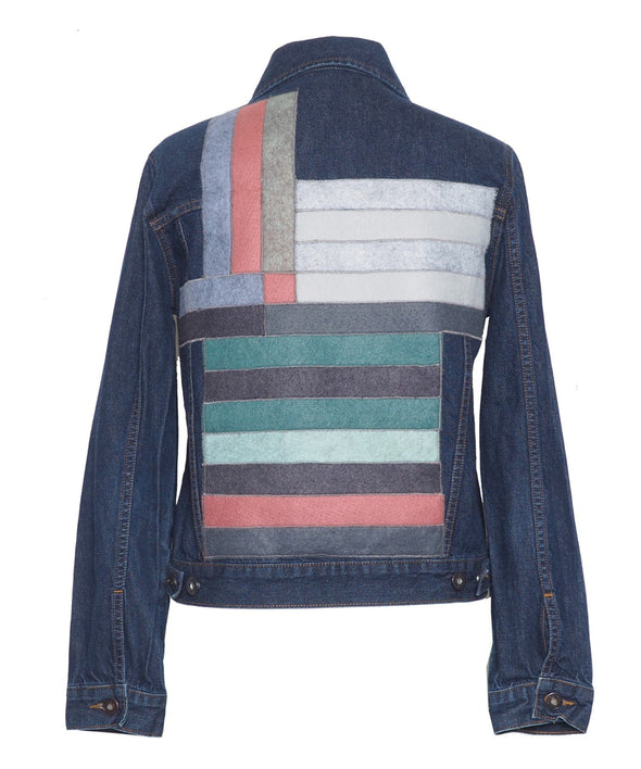 Custom vintage denim jacket - Lee, Levi, Wrangler, Diesel or similar. With wool customisation on back.