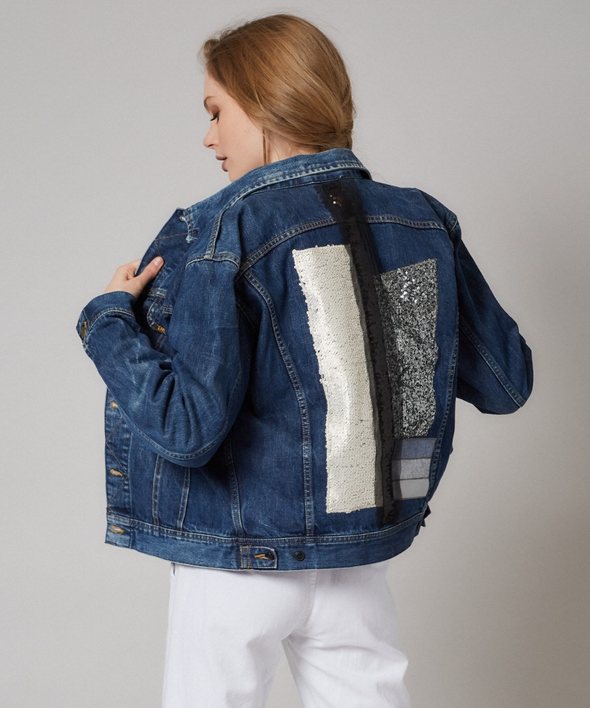 Custom vintage denim jacket - Lee, Levi, Wrangler, Diesel or similar, with sequins and wool collage on back.