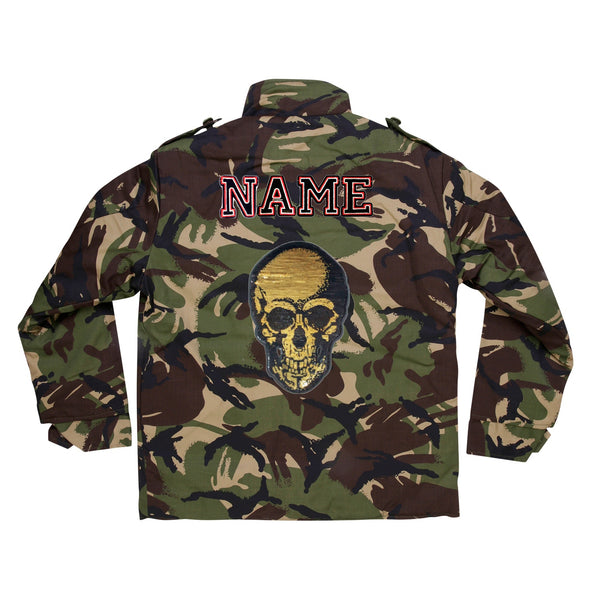 Gold Sequin Skull Camo Jacket