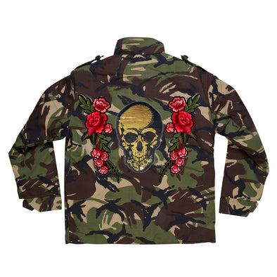 Gold Sequin Skull and Roses Camo Jacket