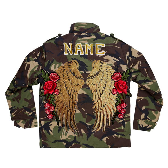 XL Gold Wings and Roses Camo Jacket