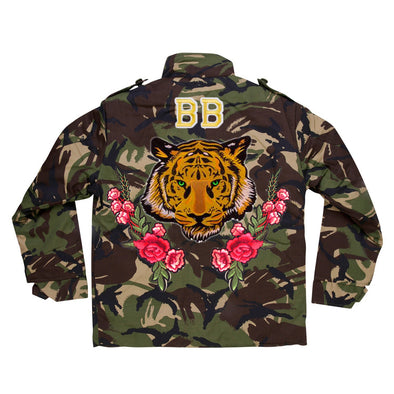 Green Eyed Tiger and Roses Camo Jacket