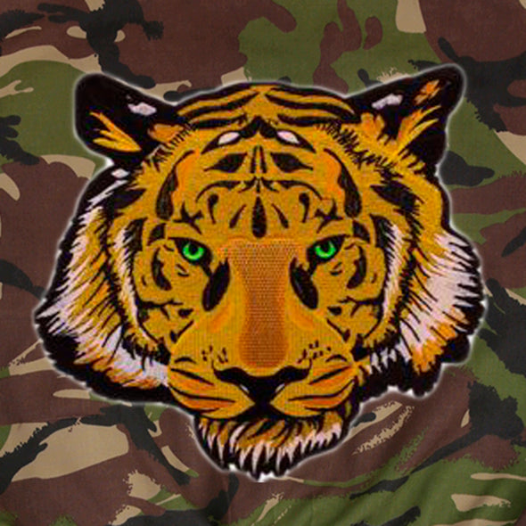 Green Eyed Tiger on Dark Camo