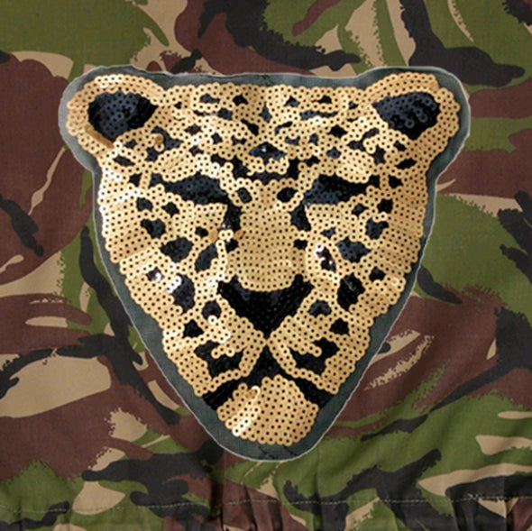 Gold Sequin Leopard on Dark Camo