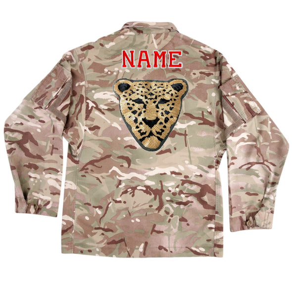 Gold Sequin Leopard on Lightweight Camo