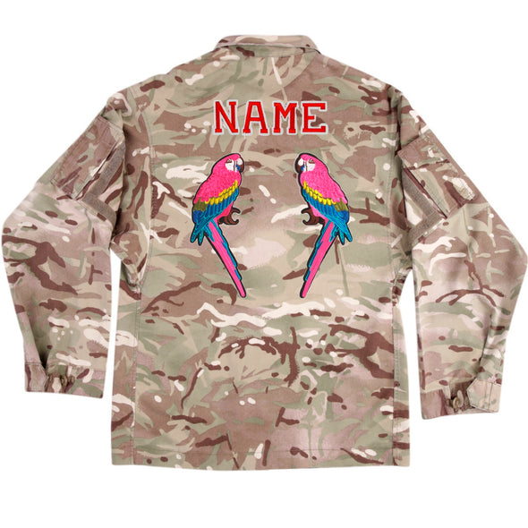 Pink Parrots on Lightweight Camo
