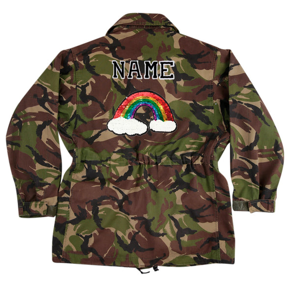 Reversible Sequin Rainbow on Dark Camo