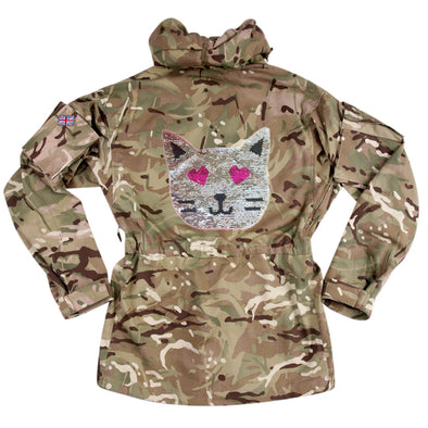 Reversible Sequin Cat on Pale Camo