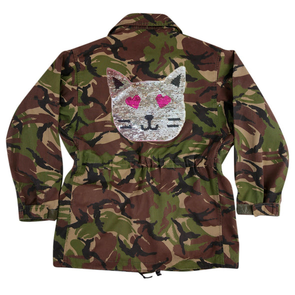 Reversible Sequin Cat on Dark Camo