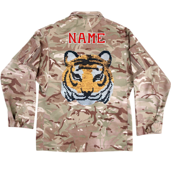 Reversible Sequin Tiger on Lightweight Camo