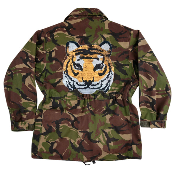 Reversible Sequin Tiger on Dark Camo