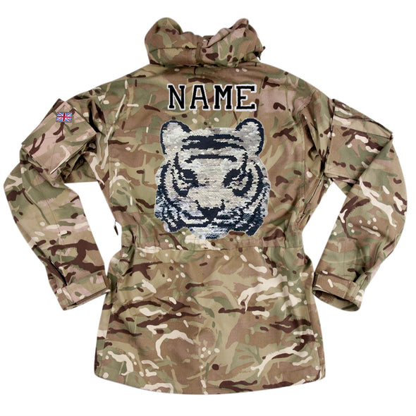 Reversible Sequin Tiger on Pale Camo