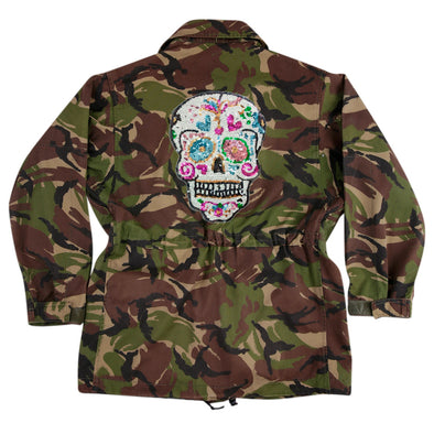 Sequin Candy Skull on Dark Camo