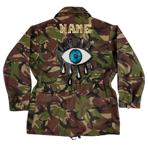 Sequin Eye on Dark Camo