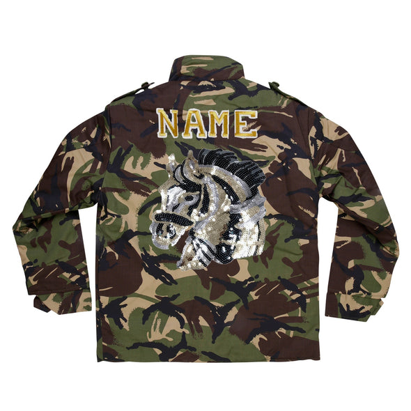 Sequin Horse Head  Camo Jacket