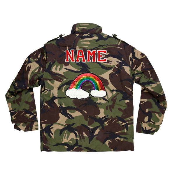 Reversible Sequin Rainbow Camo Jacket