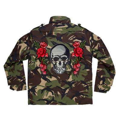 Silver Sequin Skull and Roses Camo Jacket