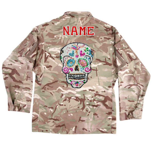 Sequin Candy Skull on Lightweight Camo