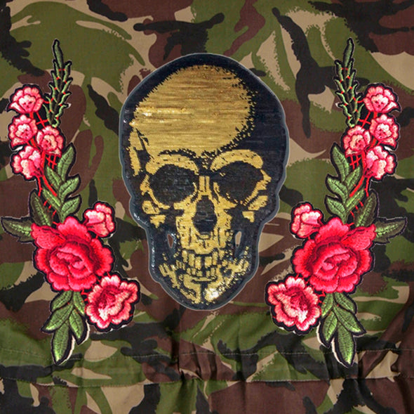 Gold Sequin Skull and Roses on Dark Camo