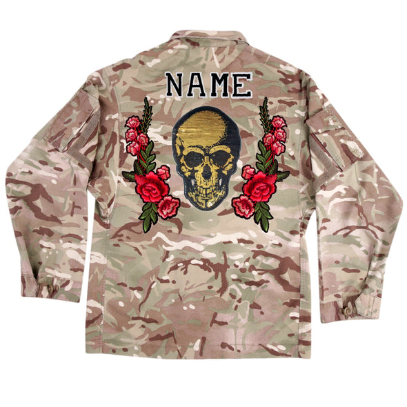Gold Sequin Skull and Roses on Lightweight Camo