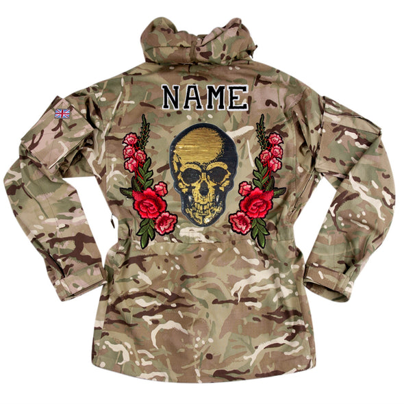 Gold Sequin Skull and Roses on Pale Camo