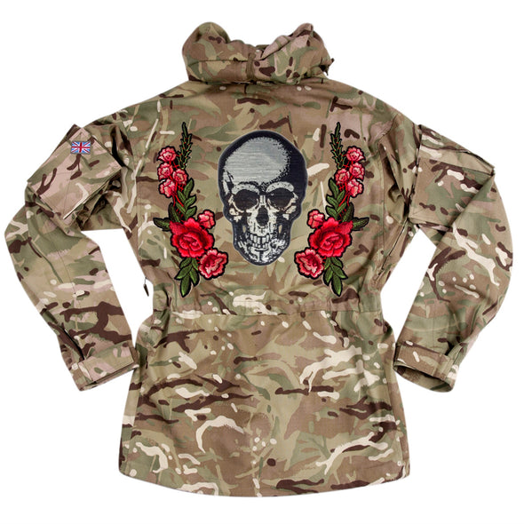 Silver Sequin Skull and Roses on Pale Camo
