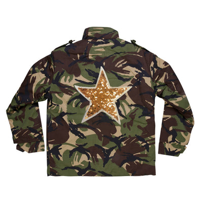 Gold Sequin Star Camo Jacket