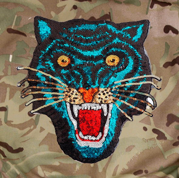 Blue Sequin Tiger on Pale Camo