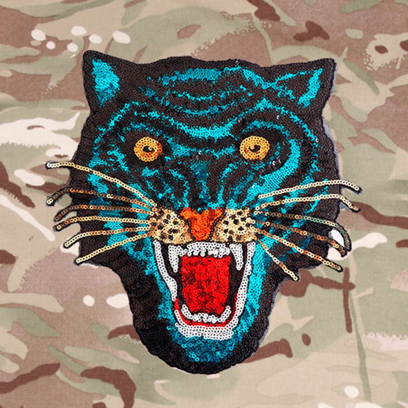 Blue Sequin Tiger on Lightweight Camo