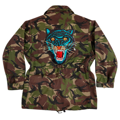 Blue Sequin Tiger on Dark Camo