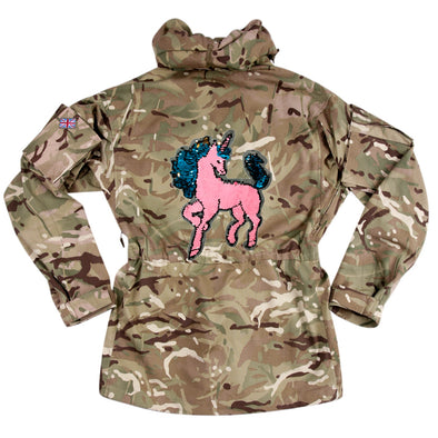 Reversible Sequin Unicorn on Pale Camo
