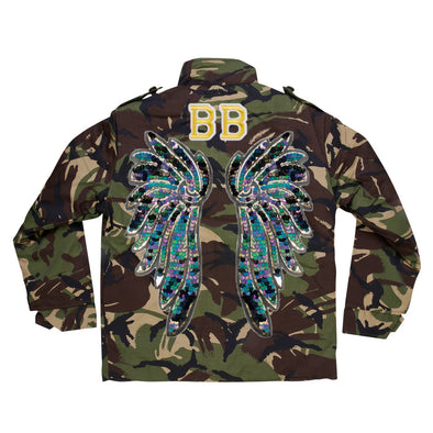 Indigo and Aqua Wings Camo Jacket