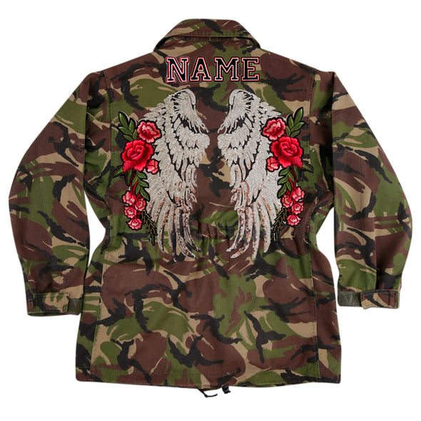 XL Silver Wings and Roses Dark Camo