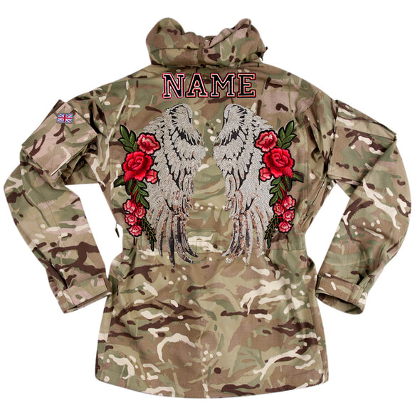 XL Silver Wings and Roses on Pale Camo