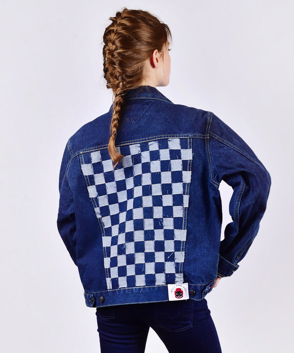 Customised Vintage Denim Jacket with salvaged denim weave across back - jacket is Lee, Levi, Wrangler, Diesel or similar.
