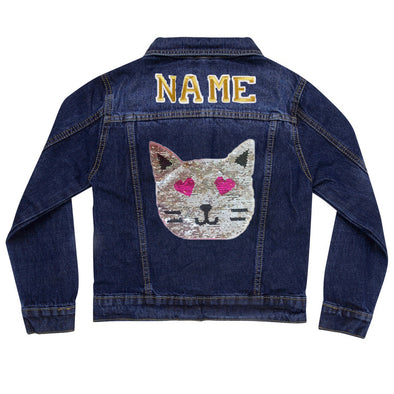 Reversible Sequin Cat Vintage Denim Jacket