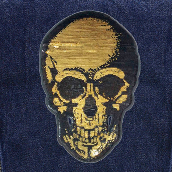 Gold Sequin Skull Denim Jacket