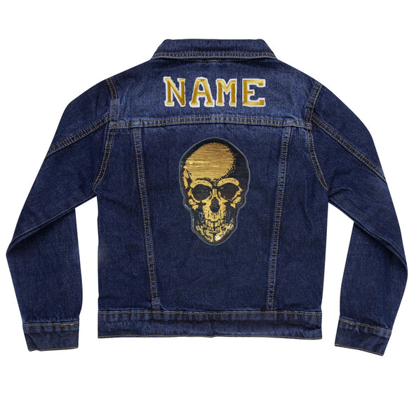 Gold Sequin Skull Vintage Denim Jacket