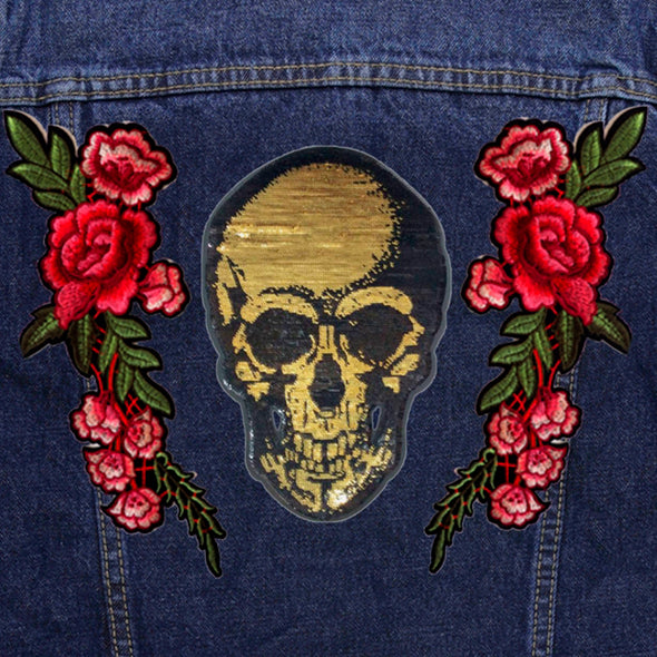 Gold Sequin Skull and Roses Denim Jacket