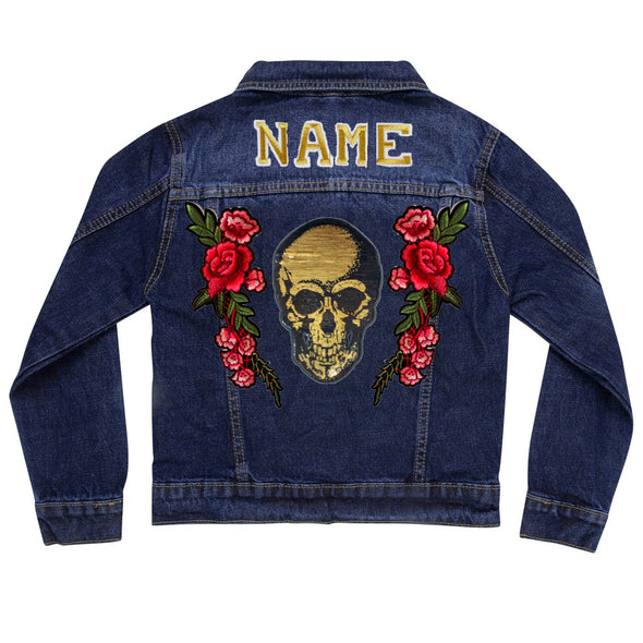 Gold Sequin Skull and Roses Vintage Denim Jacket