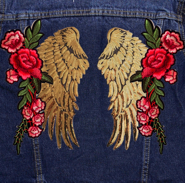 Gold Wings and Roses Denim Jacket