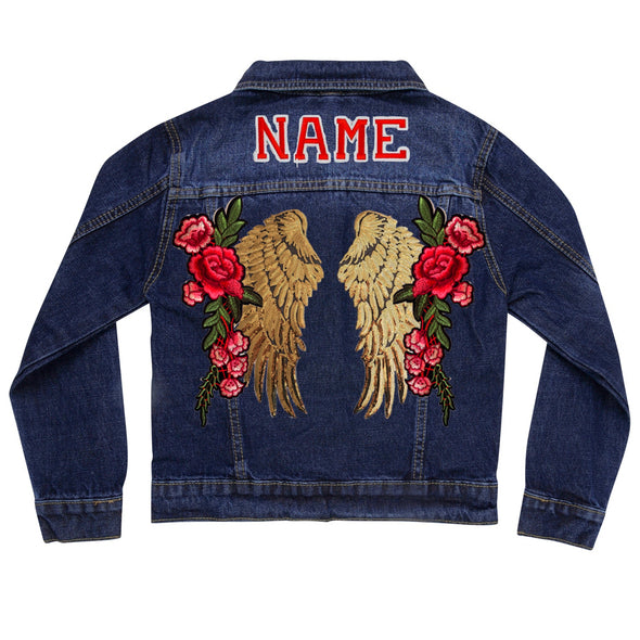 Gold Wings and Roses Vintage Denim Jacket