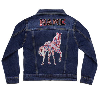 Mosaic Sequin Horse Vintage Denim Jacket