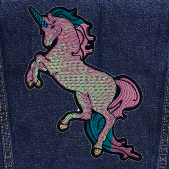 Pearly Sequin Unicorn Vintage Denim Jacket